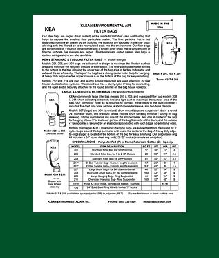 KEA Industrial Air Filter Bags Brochure